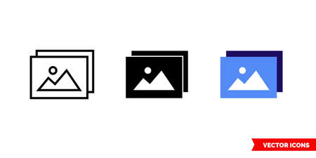 Image gallery icon of 3 types. Isolated vector sign symbol.