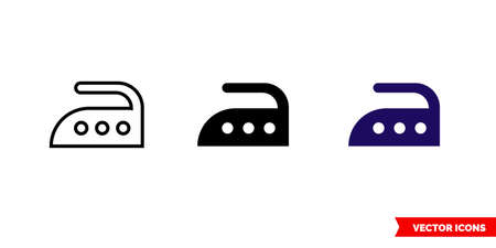 Iron high temperature icon of 3 types. Isolated vector sign symbol.