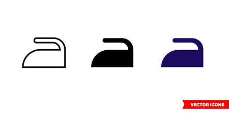 Ironing icon of 3 types. Isolated vector sign symbol.
