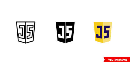 Javascript icon of 3 types. Isolated vector sign symbol.
