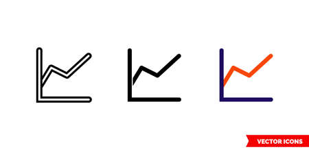 Line graph icon of 3 types. Isolated vector sign symbol. 向量圖像