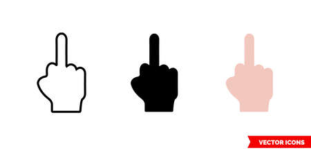 Middle finger icon of 3 types. Isolated vector sign symbol.