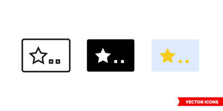 Membership card icon of 3 types. Isolated vector sign symbol.
