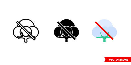No cotton icon of 3 types. Isolated vector sign symbol.