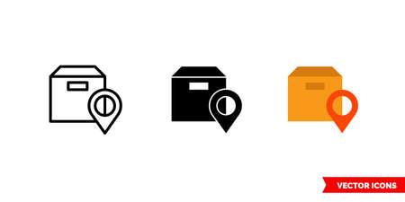 Package location icon of 3 types. Isolated vector sign symbol. Illusztráció