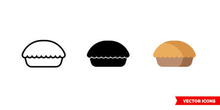 Pie icon of 3 types. Isolated vector sign symbol. Vettoriali