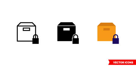 Secured delivery icon of 3 types. Isolated vector sign symbol.