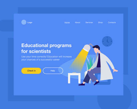 The concept head of the website to launch the company for space, promotion, hosting or other spheres. Landing page template. Isometric vector illustration with a scientist in a lab coat, a lamp, plant Ilustracja