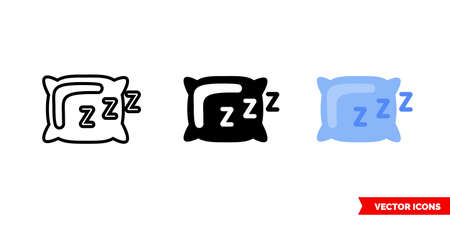 Sleep icon of 3 types. Isolated vector sign symbol. 矢量图像