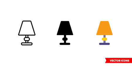 Table lights icon of 3 types. Isolated vector sign symbol. Illusztráció