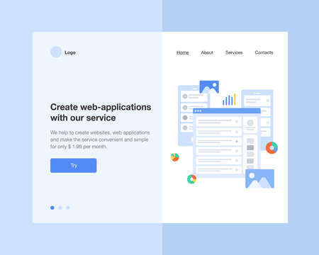 The concept head of the website to launch the company for space, promotion, hosting or other spheres. Landing page template. Isometric vector illustration with web-application, web-page.