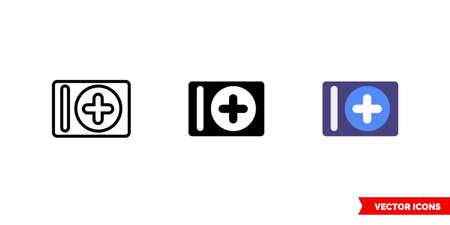 Add album icon of 3 types. Isolated vector sign symbol.
