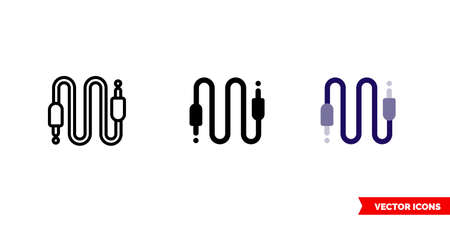 AUX cable icon of 3 types. Isolated vector sign symbol.