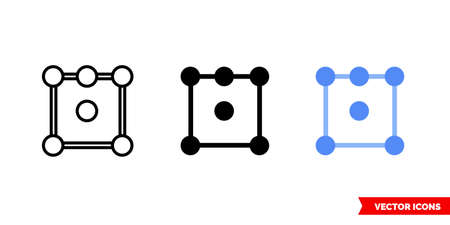 Audio channels icon of 3 types. Isolated vector sign symbol.