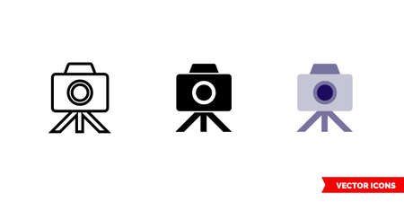 Camera on tripod icon of 3 types. Isolated vector sign symbol.