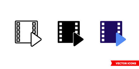 Cinema film play icon of 3 types. Isolated vector sign symbol. Ilustracja