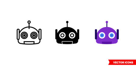 Bot icon of 3 types. Isolated vector sign symbol. Ilustracja