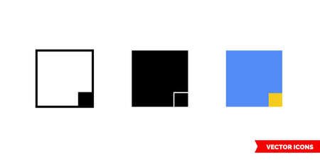 Bottom right corner icon of 3 types. Isolated vector sign symbol.