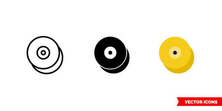 Cymbals icon of 3 types. Isolated vector sign symbol. Vector Illustration