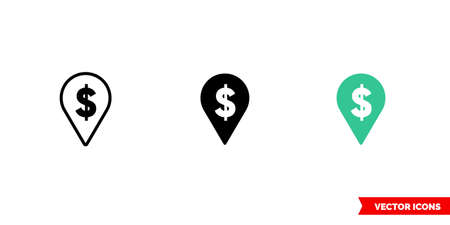 Dollar place marker icon of 3 types. Isolated vector sign symbol.