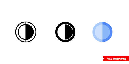 Half occupied icon of 3 types. Isolated vector sign symbol.