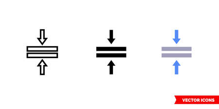 Merge horizontal icon of 3 types. Isolated vector sign symbol.