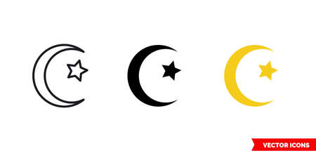 Moon star icon of 3 types. Isolated vector sign symbol.
