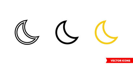 Moon icon of 3 types. Isolated vector sign symbol. 向量圖像