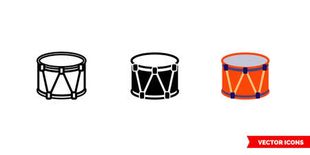 Tabal icon of 3 types. Isolated vector sign symbol.