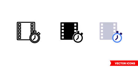 Timecode icon of 3 types. Isolated vector sign symbol.