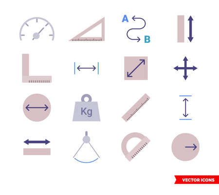 Measuring icons set of color types. Icon pack. Isolated vector sign symbols.