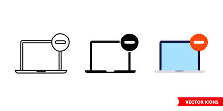 Remove from laptop icon of 3 types. Isolated vector sign symbol. Ilustração