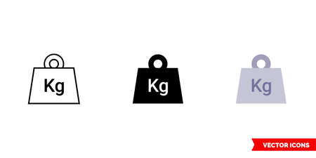 Weight icon of 3 types. Isolated vector sign symbol.