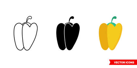 Yellow bell pepper icon of 3 types. Isolated vector sign symbol. Vetores