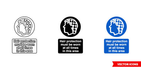 Hair protection must be worn at all times in this area sign icon of 3 types. Isolated vector sign symbol.