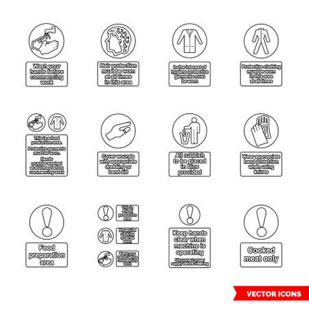 Health hygiene mandatory signs icon set of outline types. Icon pack. Isolated vector sign symbols.