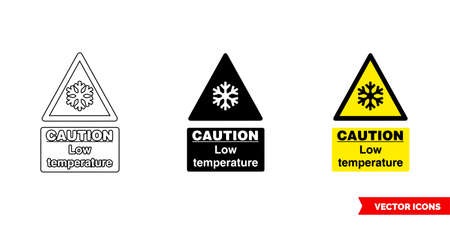 Caution low temperature hazard sign icon of 3 types. Isolated vector sign symbol.