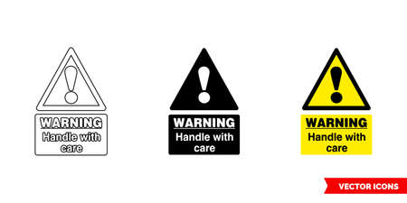 Warning handle with care food safety hazard sign icon of 3 types. Isolated vector sign symbol. Ilustração