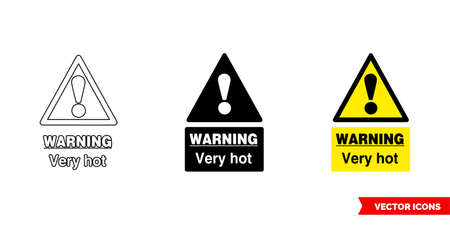 Warning very hot food safety hazard sign icon of 3 types. Isolated vector sign symbol. Ilustração