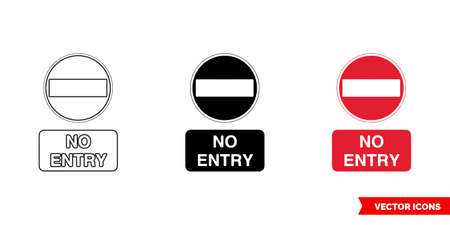 No entry prohibitory sign icon of 3 types. Isolated vector sign symbol.