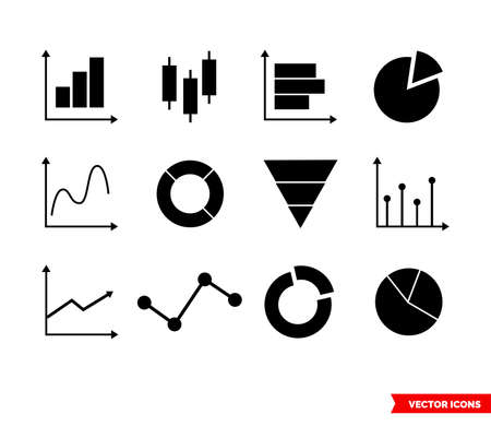 Set of business data related icons. Isolated vector sign symbol. Black and white type.