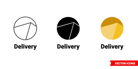 Delivery icon of 3 types. Isolated vector sign symbol.