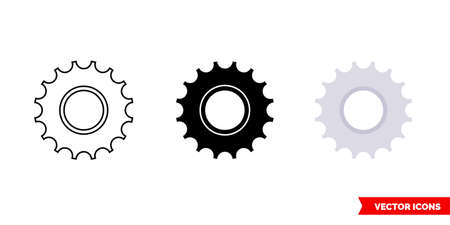 Bicycle freewheel icon of 3 types. Isolated vector sign symbol.