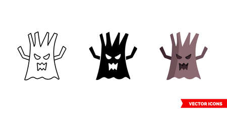 Scary tree icon of 3 types. Isolated vector sign symbol.