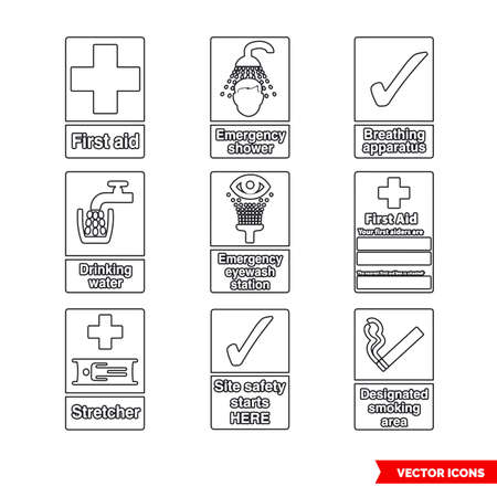 First aid and safe condition signs icon set of outline types. Isolated vector sign symbols.Icon pack.
