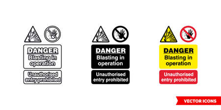 Quarry notice sign danger blasting in operation unauthorized entry prohibited icon of 3 types color, black and white, outline.Isolated vector sign symbol. 向量圖像