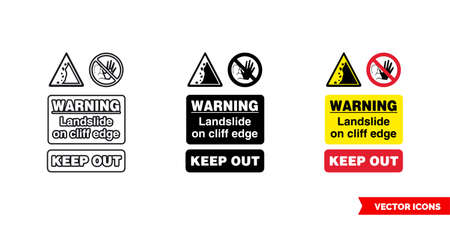 Quarry notice sign warning landslide on cliff edge keep out icon of 3 types color, black and white, outline.Isolated vector sign symbol.
