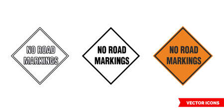 No road markings roadworks sign icon of 3 types color, black and white, outline.Isolated vector sign symbol.