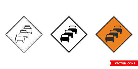 Queues likely roadworks sign icon of 3 types color, black and white, outline.Isolated vector sign symbol.