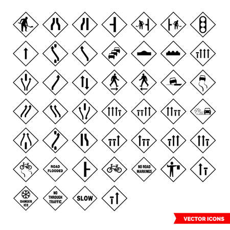 Roadworks signs icon set of black and white types. Isolated vector sign symbols.Icon pack. Vector Illustratie